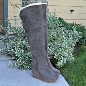 Over the Knee Heeled Wedge Winter Boots